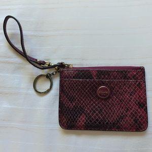 Pink snakeskin Coach keychain wallet